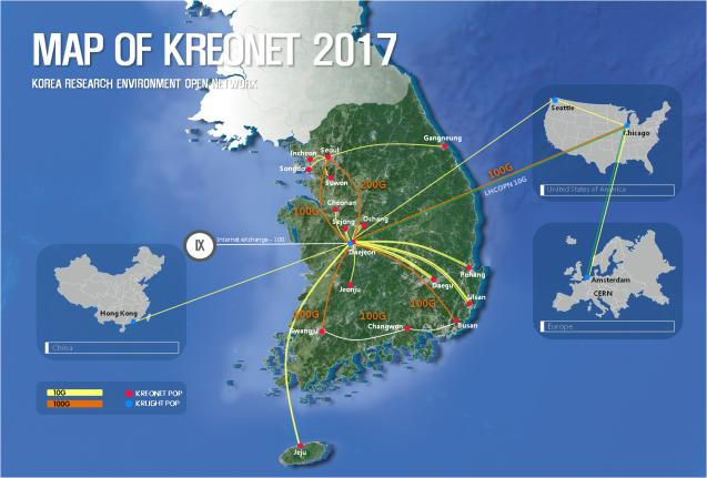 MAP OF KREONET 2017 / KOREA RESEARCH ENVIRONMENT OPEN NETWORK