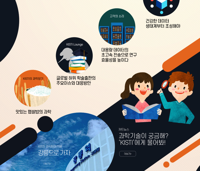 KISTI Column, 고객의 소리, KISTI Lounge, KISTI의 과학일기, KISTI 과학테마기행, 카드뉴스