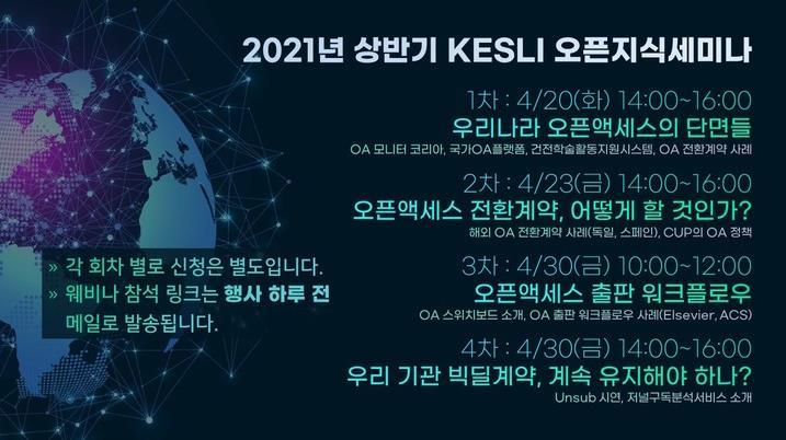 2021년 상반기 KESLI 오픈지식 세미나 포스터